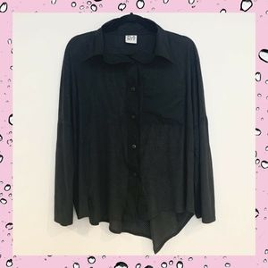 PLANET Lauren G Perforated Button Down Blouse OSFA